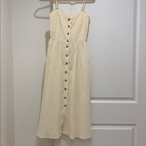 Cream scalloped details midi dress with buttons